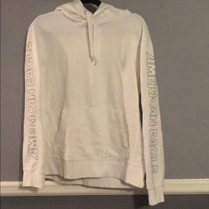 American Eagle white hoodie with gray lettering